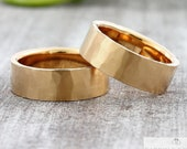 "Wedding rings ""STRUKTURO"" 585 750 gold, wedding rings rose gold hammered, wedding rings with structure, wedding rings hammer blow textured"