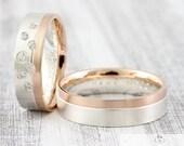 """Trauringe BiColor """"Stellato brillant"""" 585 750 Gold & Silber, Eheringe zweifarbig mit Stein, Ringe mit Gravur"""