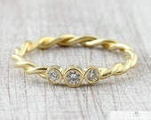 Cord ring 2.4 mm 585 750 gold with diamonds, braided ring gold, braided ring