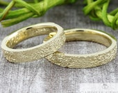 "Wedding rings wedding rings ""Lifelines structure v3"" 585 750 gold, wedding rings textured, wedding rings with structure, partner rings for men"