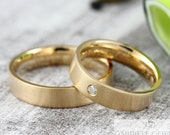 "Wedding rings ""PURO brilliant"" 750 gold, wedding rings with diamond, narrow wedding rings, wedding rings with engraving"