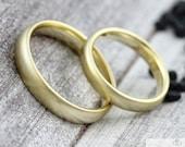"Wedding rings ""EISMATT"" 333 585 gold, wedding rings matt gold, partner rings with brushed surface, rings with engraving,"