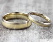 "Wedding rings two-tone ""585 yellow gold & grey gold"", wedding rings BiColor without stone, rings with engraving"