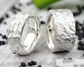 "Wedding rings ""Flamed"" silver, wedding rings flamed 925 sterling silver, partner rings for men with structure"