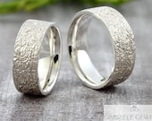 "Wedding rings wedding rings ""Lifelines v4"" silver, partner rings men with structure, wedding rings textured 925 sterling silver, silver rings"