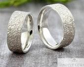 "Wedding rings Wedding rings ""Lifeline v4"" silver, partner rings men with structure, wedding rings structured 925 sterling silver, silver rings"