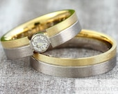 "Wedding rings ""Yellow gold & white gold"" with diamond 0.50ct, wedding rings with half carat, rings Briilant Gold"