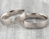 "Wedding rings ""pikeFINE brillant"" 585 750 white gold, tension ring platinum gold, wedding rings white gold plain, platinum ring with diamond"