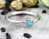"Engagement ring Topas ""skyblue"" white gold, cocktail ring stacking ring with blue stone"