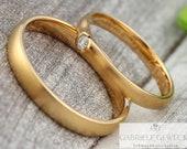 "Wedding rings Gold ""cerebellum"" with Brilliant 0.05ct"
