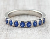 Memory Ring 585 750 Gold (half) with 8 Madagascar sapphires ges. 0.60ct, Memoire Ring, Pre-plug ring, Ring with blue stone, Gold engagement ring