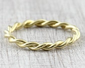Cord ring gold 2.4 mm gold 585 750, golden braided ring, twisted pre-insert ring, stacking ring