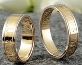 "Runes Wedding Rings BiColor ""Yellow Gold & Grey Gold"" , Runes Rings Gold, Wedding Rings Hand Engraving"