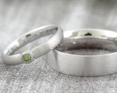 "Wedding rings ""Green Diamond"" gold platinum, wedding rings with brilliant, rings with stone green"