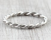 Cord ring 2.4 mm 333 585 750 white gold, 950 platinum, braided ring, twisted ring, pre-insert ring for wedding ring