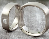 "Wedding Rings ""Quadro"" Princess Diamond, Corner Rings, Special Partner Rings Gold"