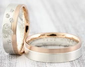 "Wedding Rings BiColor ""Stellato Brilliant"" Sterling Silver & Red Gold, Wedding Rings with Diamond, Bicolor Rings Gold"