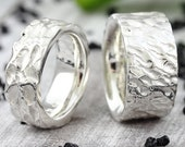 "Wedding rings ""Flamed"" silver, wedding rings flamed 925 sterling silver, partner rings for men with structure, structure ring"