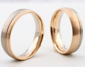 "BiColor wedding rings ""Rosegold & Grey Gold"" Multicolored wedding rings, wedding rings gold and white gold, rings with engraving"