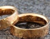 "585 750 Eheringe Gold ""GeHämmert brillant"", Ring Princess Schliff, Eheringe Rotgold gehämmert, Trauringe Hammerstruktur, Brillantring Gold"