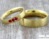 "Wedding rings ""GOLDEN SUN Ruby"" Gold 585 750, wedding rings ruby platinum, ruby engagement ring, wedding rings with engraving, wedding rings with red stone"
