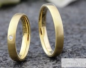 Fine! Wedding rings 2.8 mm with brilliant, narrow wedding rings 585 750 yellow gold, partner rings plain, wedding rings with stone, diamond rings