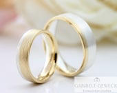 "Wedding rings ""BiColor Yellow Gold & Silver"", Wedding Rings Bicolor Silver, Wedding Rings Two-tone with Stone, Rings with Engraving"