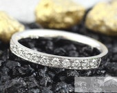 Memory Ring (half) 15 brilliantges ges. 0.225ct, Memoire Ring Gold Platinum, Pre-inserted Ring Diamond Narrow