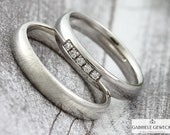 "Narrow white gold wedding rings ""Frozen"" 4 mm with 5 brilliance, wedding rings, diamonds, palladium, platinum, handmade, jewelry messages, Berlin"