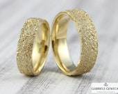 "Wedding rings Gold ""Life Lines,"" Wide Version, Wedding rings, Structure, Partner Rings, Handmade, Jewelry Messages, Goldsmiths, Berlin"