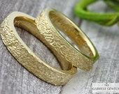 "Wedding rings Gold ""Life Lines,"" narrow version, wedding rings, structure, partner rings, handmade, jewelry messages, goldsmiths, Berlin"