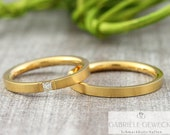 "Wedding rings ""acuto"" 585 750 gold with diamond, wedding rings with brilliant, narrow rings with diamond"