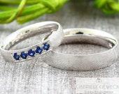 "Wedding rings ""OCEAN Sapphire"" 585 750 white gold, wedding rings blue stone, safir ring gold, sapphire engagement ring"