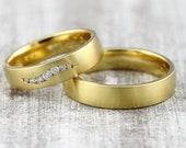 "Wedding rings ""Brillant Wave"" 585 750 Gold, Wedding rings with diamonds, Wedding rings Gold Brillant, Wedding rings Diamond wreath, Rings with engraving"