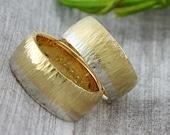 """Wedding Rings BiColor """"Vouret"""", Hammered Rings, Hammer Hammer Rings with Diamond, Multicolored Wedding Rings"""