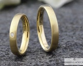 Gold wedding rings 4 mm with diamond 0.03ct, wedding rings, narrow, brilliant, partner rings, handmade, jewelry messages, goldsmiths, Berlin