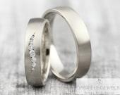 "Wedding rings ""Brillant Wave"" white gold platinum, wedding rings with diamonds, wedding rings gold brilliant, wedding rings diamond wreath, rings with engraving"
