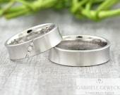 "Wedding rings ""Vitta brilliant"" 585 750 gold, white gold brilliant wedding rings, concave wedding rings, ergonomic wedding rings"