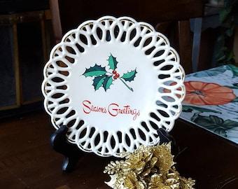 Vintage 1950's Lace Edged Season's Greetings Plate