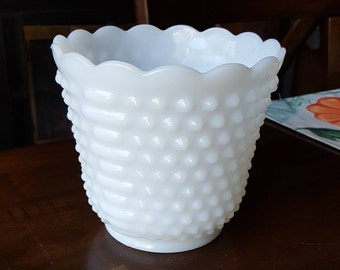 Vintage Anchor Hocking Fire-King HOBNAIL MILK GLASS Footed Jardiniere
