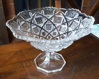 Post-1912 Westmoreland #500 - BRIDLE ROSETTES - CHECKERBOARD Footed Round Bowl/Compote