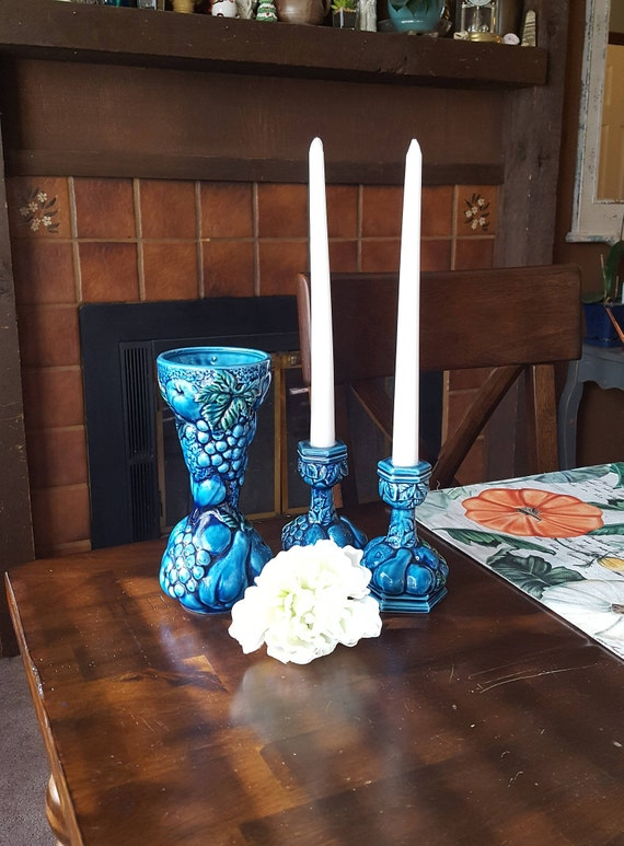 Vintage 1960s E-3563 Embossed blue fruit /& green leaves Mood Indigo by Inarco Candlestick Holders Mid Century Candle sticks tapers
