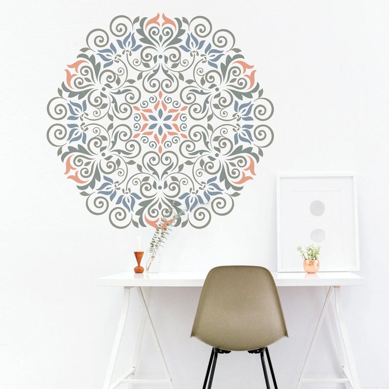 Mandala Stencil Floral Pattern For Diy Wall Decor Modern Home Etsy