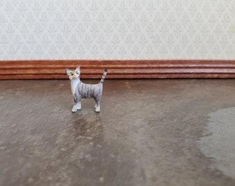 Grey Striped for DOLLHOUSE 1:12 Miniature Teeny Tiny Laying Resin Kitten