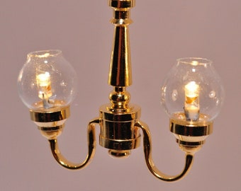 12 Volt Miniature Modern Blue Ceramic Hanging Lamp 1:12 Scale Dollhouse Lighting