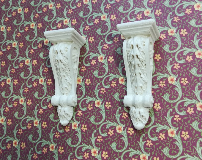 Dollhouse Miniature Plaster Resin Corbels 1:12 Scale Set of 4