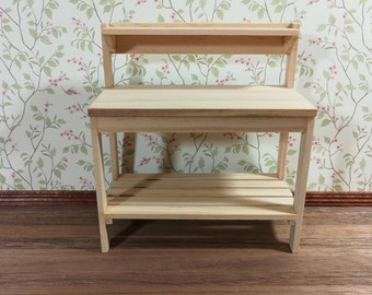 Dollhouse Miniature Unfinished Gardening Workbench 1:12 Scale Garden Table