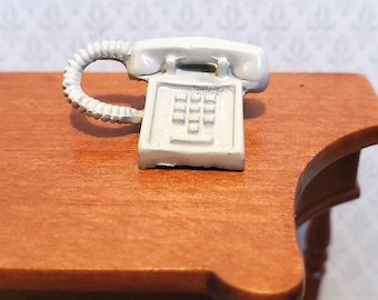 Dollhouse Miniature Telephone Modern 1970s 80s Corded Push Button 1:12 Scale