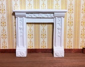 Dollhouse Miniature Fireplace Surround Victorian with Flowers White Resin 1 12 Scale