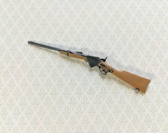 Dollhouse Miniature Realistic Metal Musket Rifle Weapon Replica #Z30024